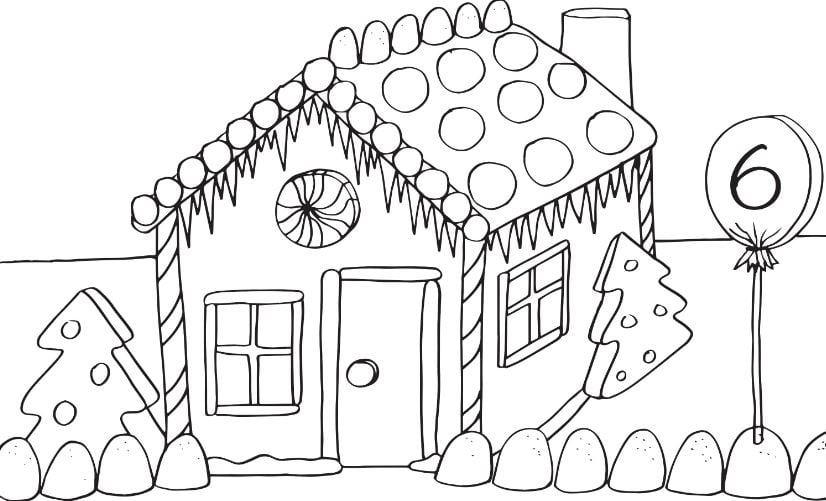 Mẫu tranh tô màu cho bé hình ngôi nhà đẹp