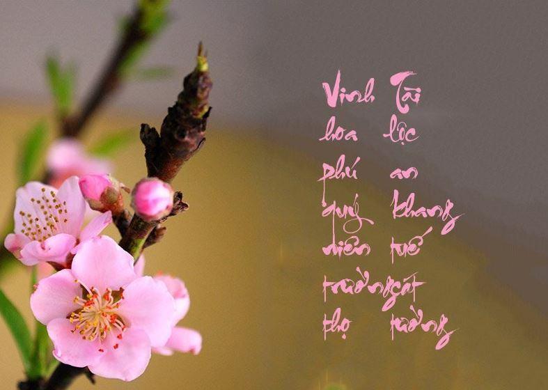 Hình ảnh 2 câu chữ thư pháp dành để chúc nhau ngày tết