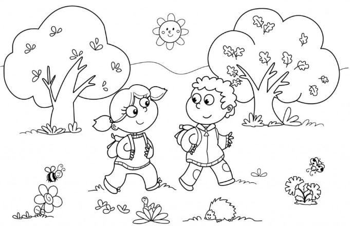 Tranh tô màu phong cảnh quê hương với những buổi chiều đi học về trên đường làng trải đầy cây xanh và hoa lá