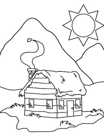 Tranh tô màu phong cảnh quê hương hình ảnh ngôi nhà vào một buổi trưa