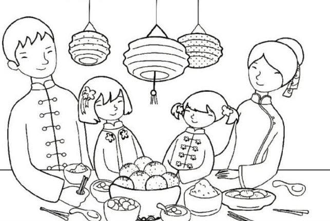 Mẫu tranh tô màu gia đình xum hợp ngày tết dành cho bé