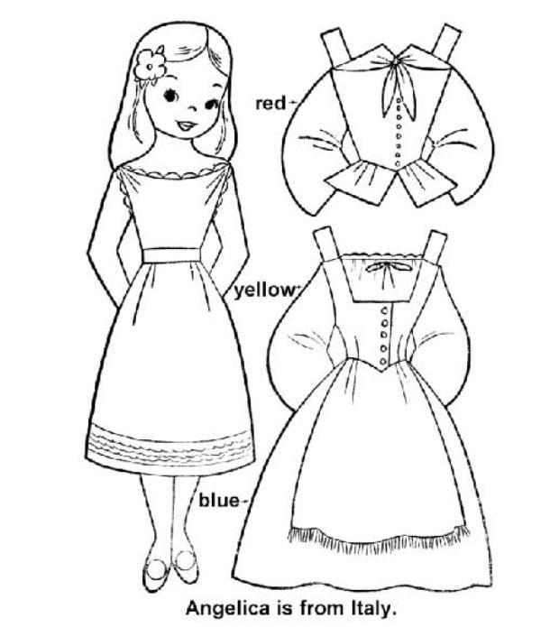 Mẫu tranh tô màu hình những chiếc đầm dành tặng cho các bé gái nhân dịp tết