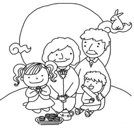 Tranh tô màu cho bé ngày tết hình gia đình