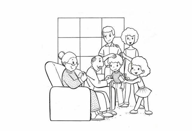Mẫu tranh tô màu hình gia đình ngày tết