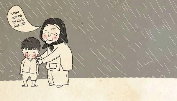 Tranh vẽ hình ảnh bà đang dỗ dành bé đang khóc dưới cơn mưa