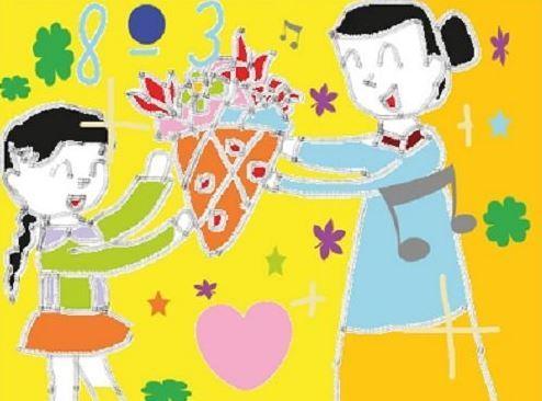 Tranh vẽ hình cháu gái tặng bó hoa cho bà nhân ngày quốc tế phụ nữ 8-3