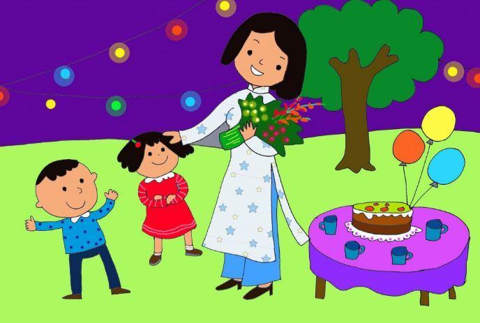 Tranh vẽ bé trai bé gái tặng quà cho cô giáo nhân ngày 8-3