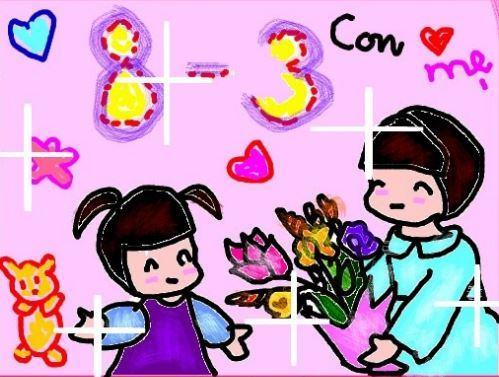 Tranh vẽ hình con gái tặng bó hoa cho mẹ nhân ngày quốc tế phụ nữ 8-3