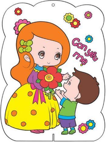 Tranh vẽ hình con trai tặng hoa cho mẹ nhân ngyaf quốc tế phụ nữ 8-3
