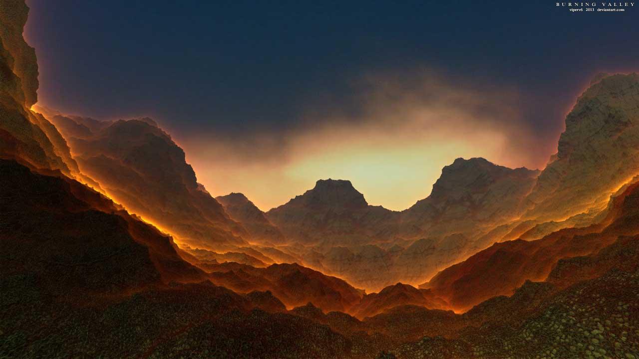 创作者创造的雄伟山脉的图片