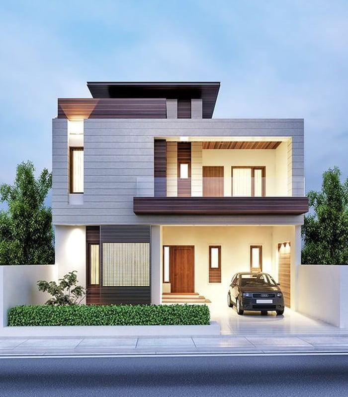 Biệt thự mang phong cách hiện đại với đường nét mềm mại, vuông vức