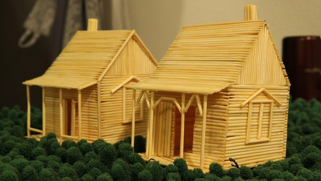 Mô hình ngôi nhà làm từ những cây tăm tre cực kì đơn giản