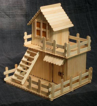 Mô hình ngôi nhà bằng những que tre đơn giản nhưng rất đẹp
