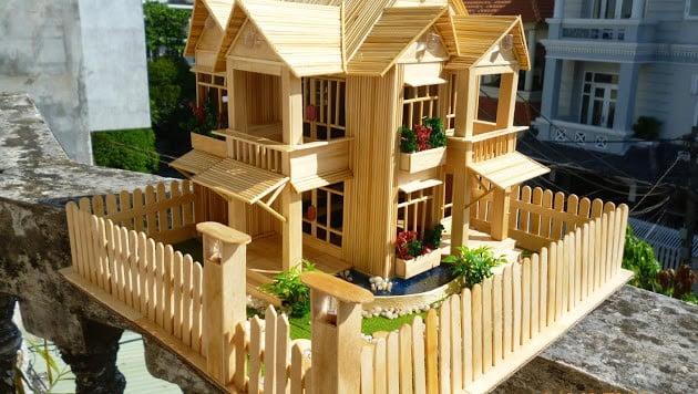 Mẫu nhà bằng tăm tre đơn giản