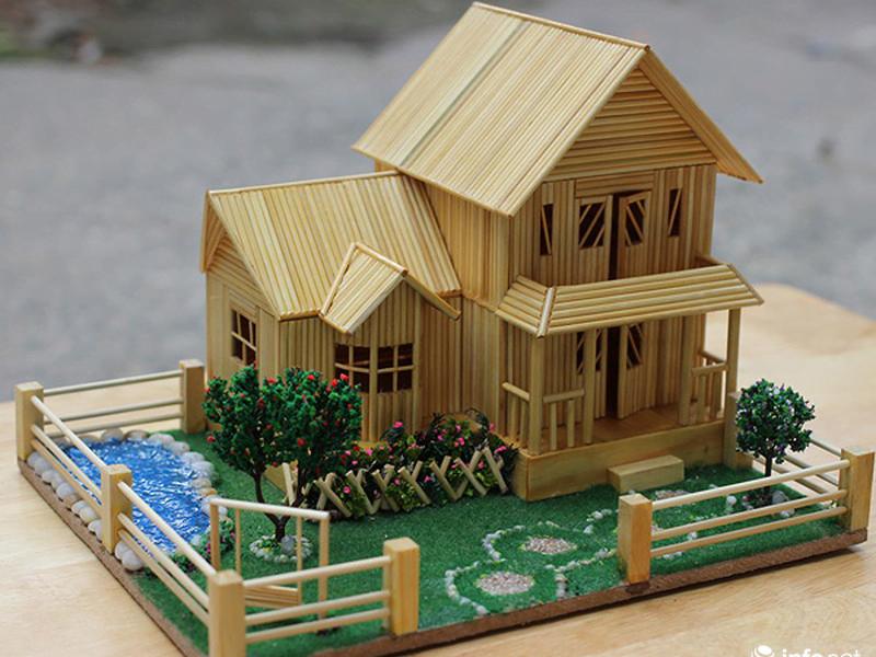 Mô hình nhà bằng tăm tre đẹp nhất