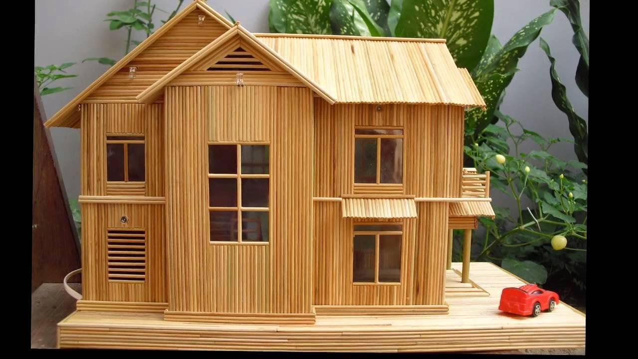 Hình ảnh ngôi nhà bằng tăm tre đơn giản để làm quà tặng