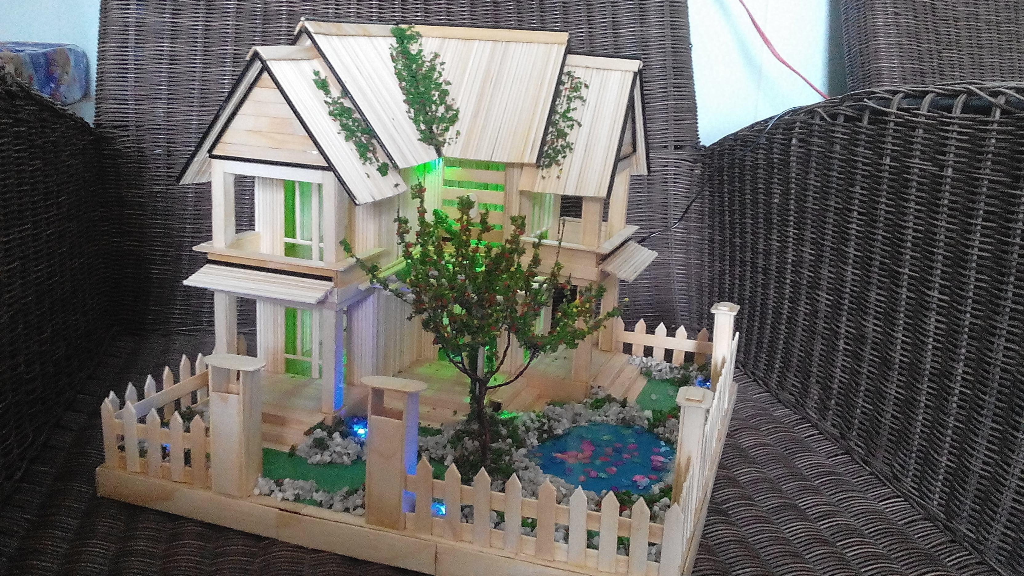Mô hình ngôi nhà bằng tăm tre phối với đèn LED cực đẹp