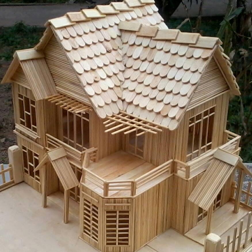 Mô hình ngôi nhà mái ngói bằng tăm tre
