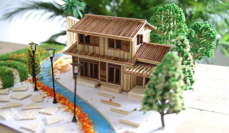 Mô hình ngôi nhà bằng tăm tre mô phỏng theo ngôi nhà thật của Nobita