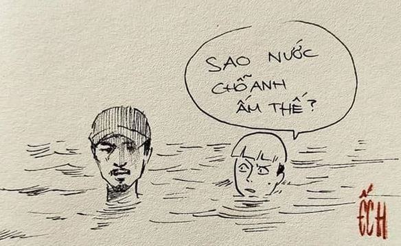Không ít người tự thả mình vào dòng nước để bơi cùng Đen Vâu. Đây được xem là cách người hâm mộ cổ vũ rapper sinh năm 1989. Ảnh: Ếch