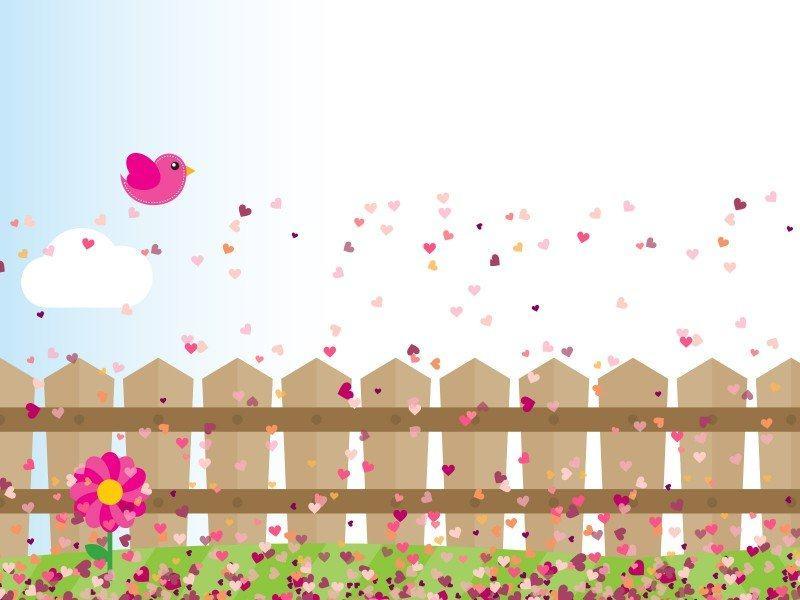 Hình nền slide thuyết trình đẹp - hàng rào gỗ và cánh hoa hường