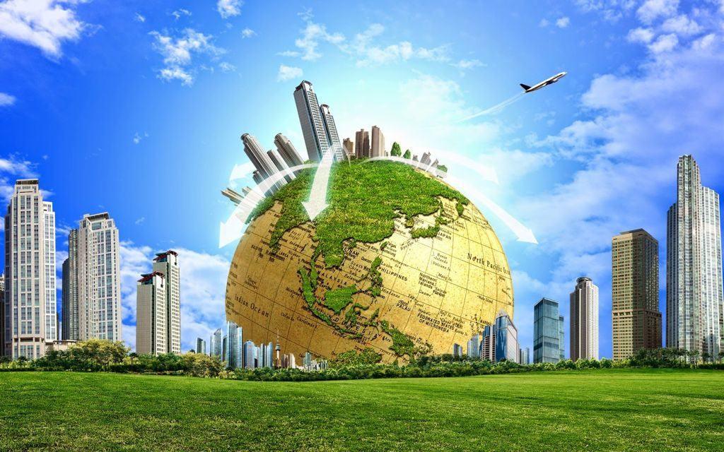 Hình nền slide thuyết trình đẹp - nữa quả địa cầu và thành phố xanh