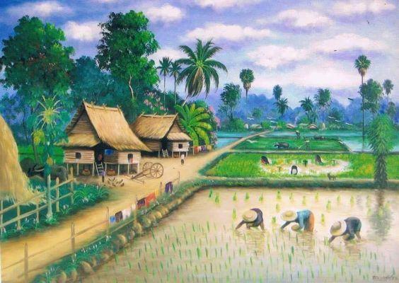 Tranh sơn dầu phong cảnh thiên nhiên cánh đồng