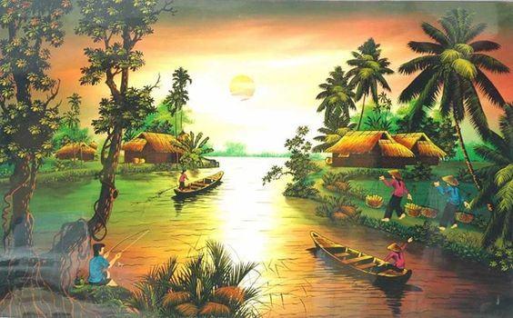 Tranh phong cảnh đồng quê sông nước Việt Nam