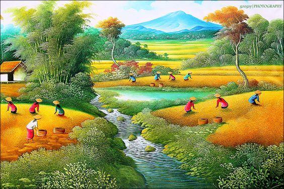 Tranh sơn dầu phong cảnh cánh đồng đẹp