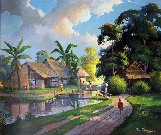 Tranh sơn dầu phong cảnh làng quê đẹp