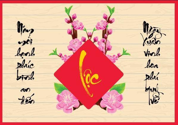 Mẫu thiệp chúc mừng năm mới 2020 chữ Lộc