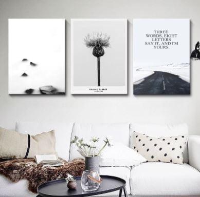 Tranh nghệ thuật trắng đen trở nên đẹp hơn khi được treo ở phòng khách