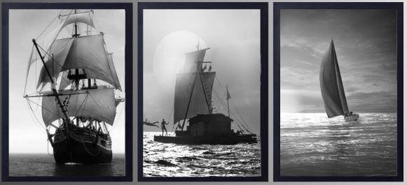 Tranh trắng đen nghệ thuật những chiếc thuyền vươn cánh bườm ra khơi